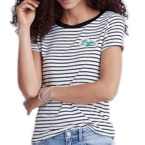 NWOT American Eagle Babe Patch Striped Tee Small